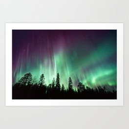 Colorful Northern Lights, Aurora Borealis Art Print