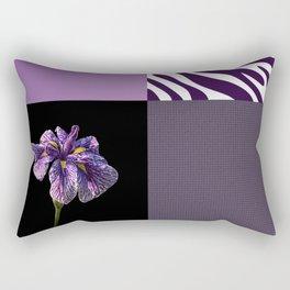 Purple Iris Flower and Zebra Stripes Patch Work Rectangular Pillow