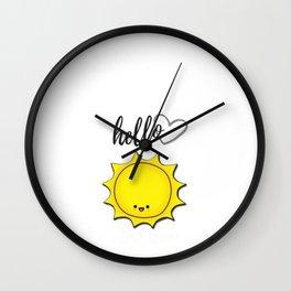 Hello Sunshine Positivity Art Wall Clock