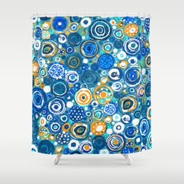 Lost Marbles - Blue Shower Curtain