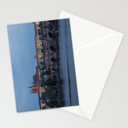 Prague cityscape with Prague castle and Charles bridge Stationery Cards