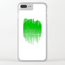 Abstract Green Guitar City Clear iPhone Case