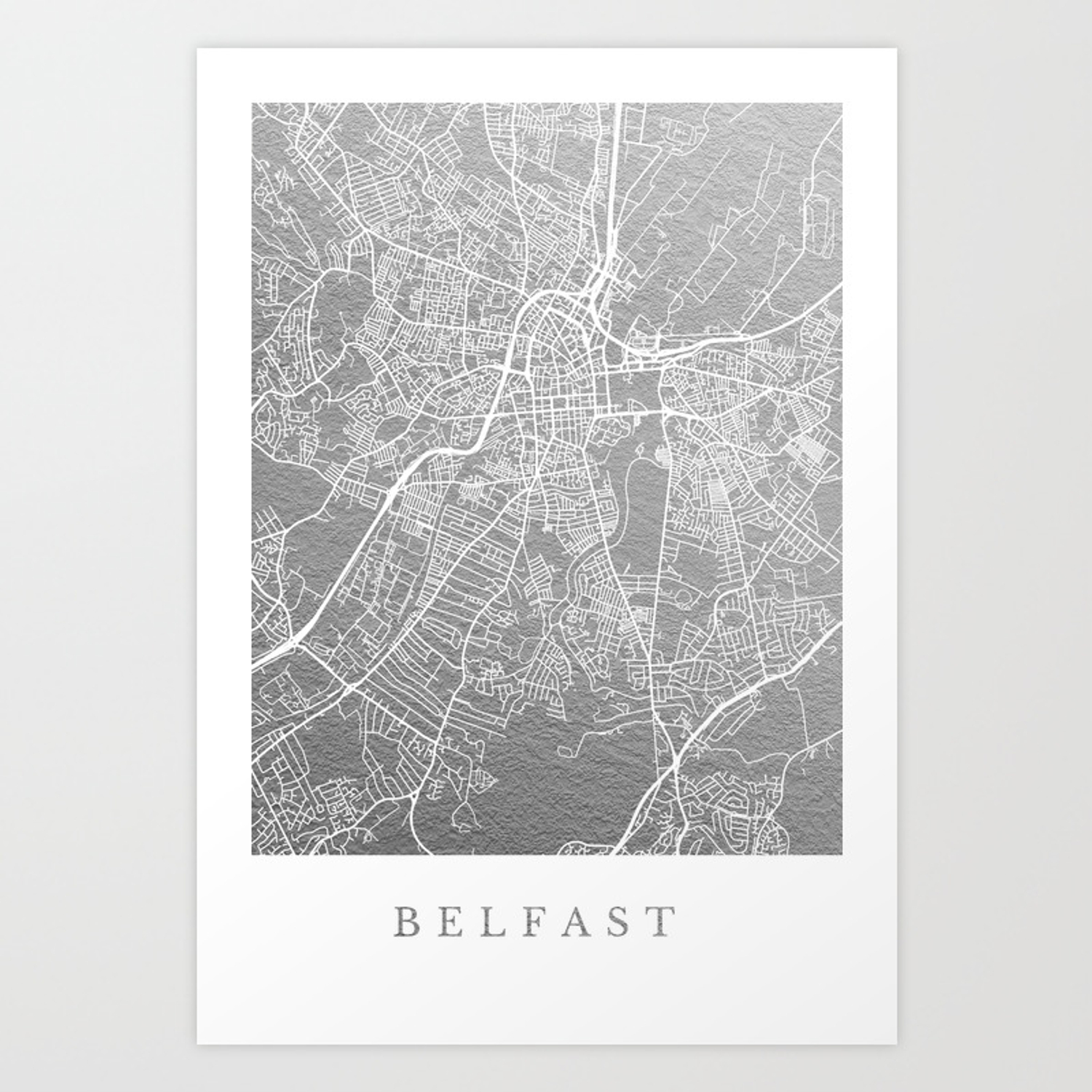 Silver belfast map art print by dairinne society6