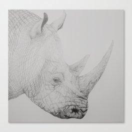 Graphite Rhino Canvas Print