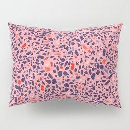 Terrazzo pink red blue Pillow Sham