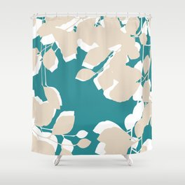 leves teal and tan Shower Curtain