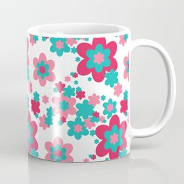 Pink Raspberry Aqua Blue Floral  Coffee Mug