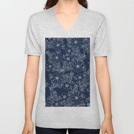 Artistic hand painted navy blue white modern floral Unisex V-Neck