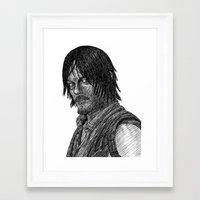 daryl dixon Framed Art Prints featuring Daryl Dixon by Jack Kershaw