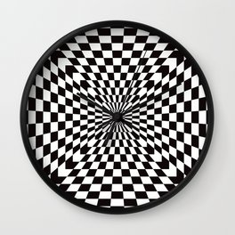 Checkered Optical Illusion Wall Clock