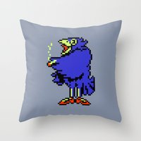 earthbound Throw Pillows featuring Crow - Mother / Earthbound Zero by Studio Momo╰༼ ಠ益ಠ ༽