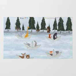 the great paper boat race Rug