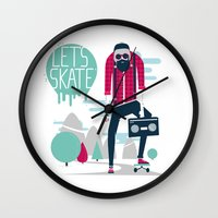 skate Wall Clocks featuring Let's skate  by SpazioC