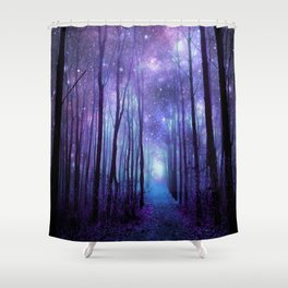 Fantasy Forest Path Icy Violet Blue Shower Curtain