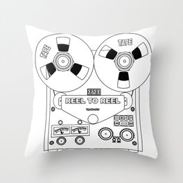 Reel To Reel Line Drawing Throw Pillow