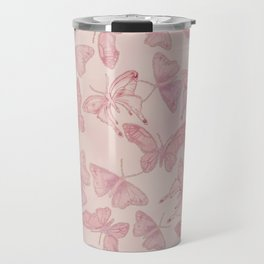 Butterfly Pattern soft pink pastel Travel Mug