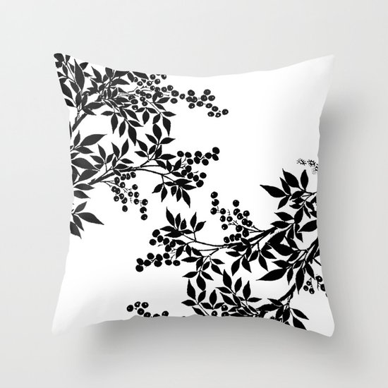 TREE BLACK AND WHITE LEAF TOILE PATTERN Throw Pillow by Saundra Myles Society6