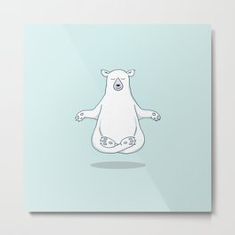 Levitating Meditating Polar Bear Metal Print