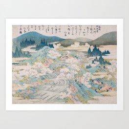 Flowering Cherry Trees Along the Yoshino River Art Print