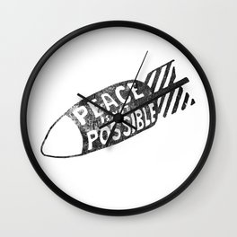 peace is not possible hand lettering illustration Wall Clock
