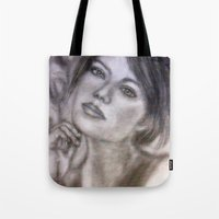 emma stone Tote Bags featuring Pencil Portrait Drawing  - American Actress - Emma Stone by Artscanyon