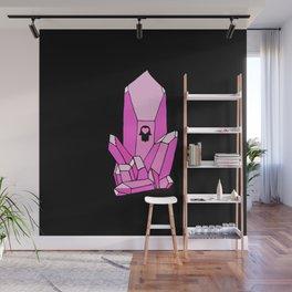Pink Crystal Black  Wall Mural