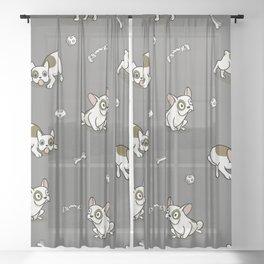 Sweet Frenchie Bulldog Puppies Pattern Grey Background Sheer Curtain