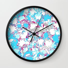 Sketchy Fun Flowers Blue and Pink Wall Clock