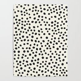 Black Decorative Dots on White, Minimalist line drawing, Modern art print with dots. Poster