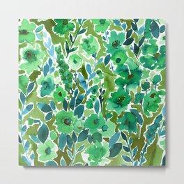 Isla Floral Green Metal Print