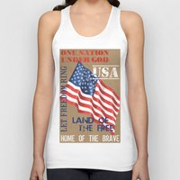 patriotic Tank Tops featuring Patriotic Text by Debbie DeWitt