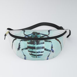 Blue cyan beetle watercolour illustration painting Fanny Pack