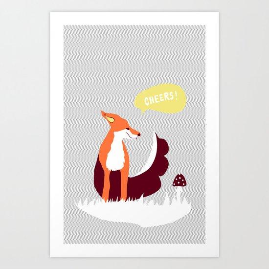 party animals - english fox Art Print