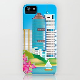 Brisbane, Australia - Skyline Illustration by Loose Petals iPhone Case