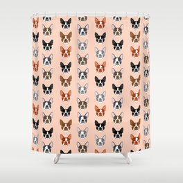 Boston Terrier face cute pet portrait terrier owner must have dog art pet gifts animal fur baby  Shower Curtain