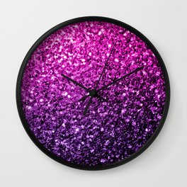 Purple Pink Ombre glitter sparkles Wall Clock