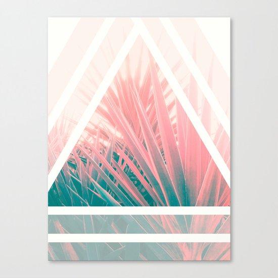 Pastel Palms into Triangle Canvas Print