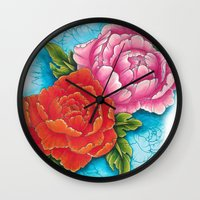 peonies Wall Clocks featuring peonies by missfortunetattoo