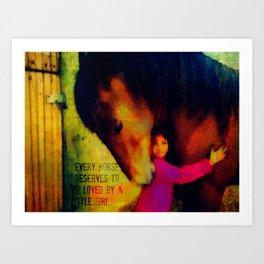 Little girl and horse Art Print