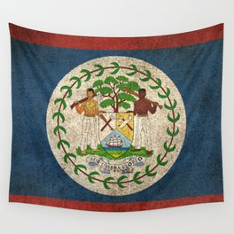 Old and Worn Distressed Vintage Flag of Belize Wall Tapestry