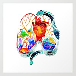 Breathe it in // anatomical lungs illustration Art Print