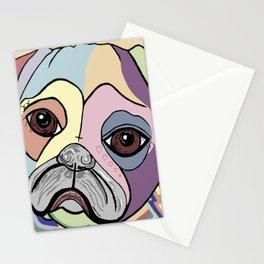 PUG in DENIM Tones Stationery Cards