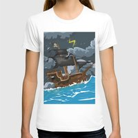 pirate ship T-shirts featuring Pirate Ship in Stormy Ocean by Nick's Emporium Gallery