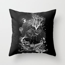 Surrealistic dream, paper boat, elephant, tree and gramophone Throw Pillow
