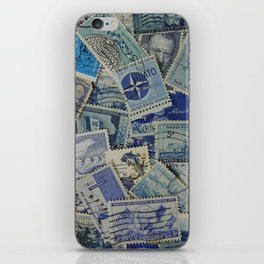 Vintage Postage Stamp Collection - Blue iPhone Skin