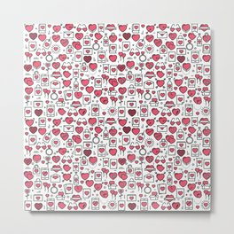 Background with icons and hearts Metal Print