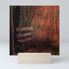 Days Gone By, Forest Landscape Bench Mini Art Print
