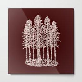 Coastal Redwoods Cathedral Ring Sketch - Red Number 2 Metal Print