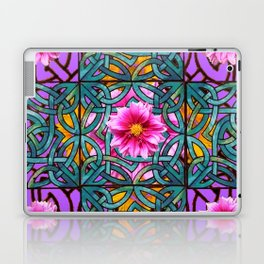 Lilac & Aqua Fuchsia Dahlias Inter-twining Art Nouveau Laptop & iPad Skin