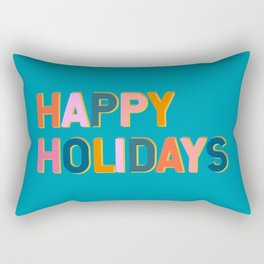 Colorful Happy Holidays Typography Rectangular Pillow